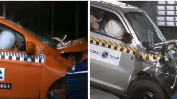 Tata Tiago (left) and Maruti S-Presso during their respective Global NCAP safety tests.