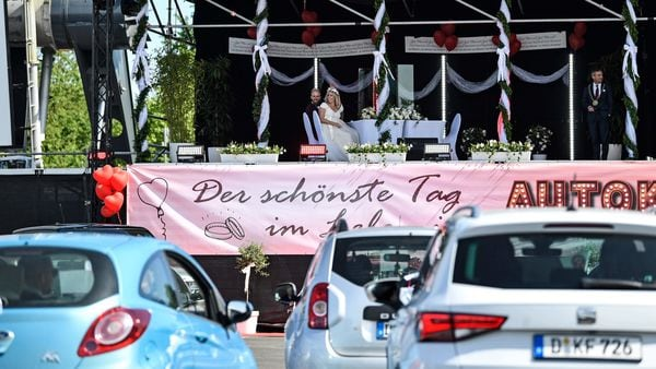 Photo of a drive-in wedding ceremony used for representational purpose only