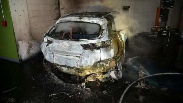 The burnt wreckage of a Hyundai Kona Electric vehicle is seen after it caught fire in South Korea. (via REUTERS)