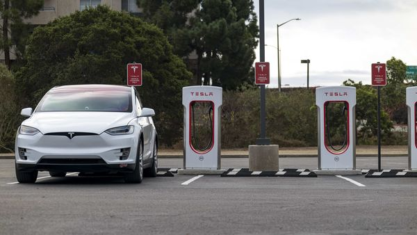 A Tesla electric vehicle at a charging station in California. (File photo) (Bloomberg)