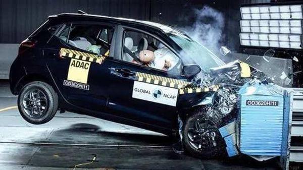 Photo of the Hyundai Grand i10 NIOS undergoing crash test by Global NCAP.