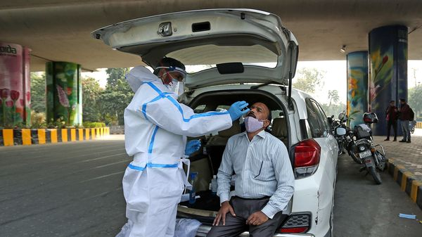 A medic collects a swab sample of a man during COVID-19 random testing of the people traveling from Delhi to Noida organized by the administration of Gautam Buddh Nagar, in Noida on Wednesday. (ANI Photo)