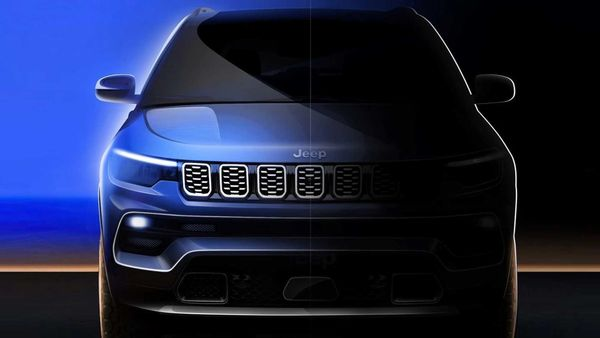 Teaser image of the 2022 Jeep Compass SUV to be showcased at the Guangzhou Auto Show.