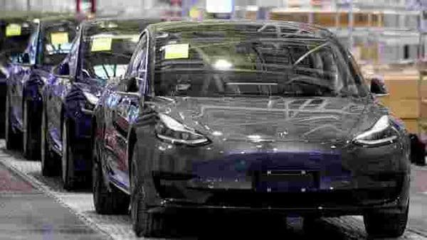 Tesla China-made Model 3 vehicles are seen at its factory in Shanghai, China. (File photo) (REUTERS)