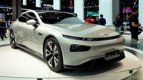 XPeng's electric vehicle P7 on show during the Shanghai auto show. (File photo) (REUTERS)