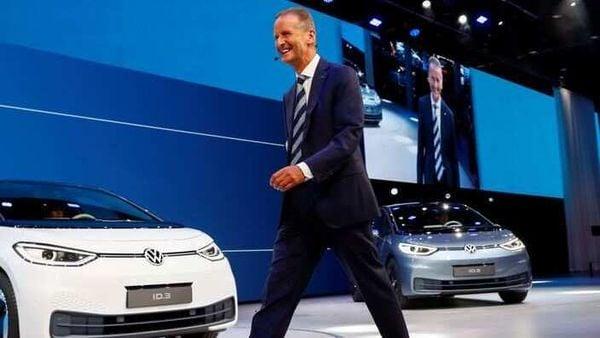 File photo: Herbert Diess, CEO of German carmaker Volkswagen AG, walks in front of ID.3 pre-production prototypes. (REUTERS)