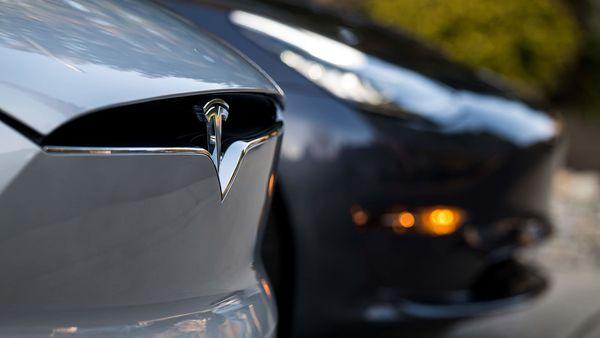 File photo of a Tesla logo (Bloomberg)