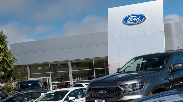 New vehicles are displayed at a Ford Motor dealership in California. (Bloomberg)