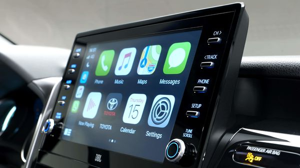 The latest 9-inch infotainment system is compatible with both Apple CarPlay and Android Auto.