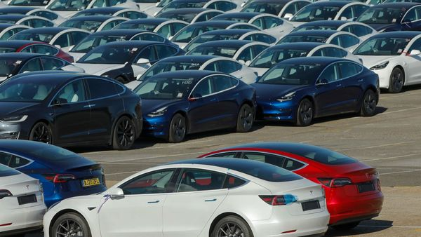 Tesla cars lined up at Southampton port in the UK, (File photo) (Bloomberg)