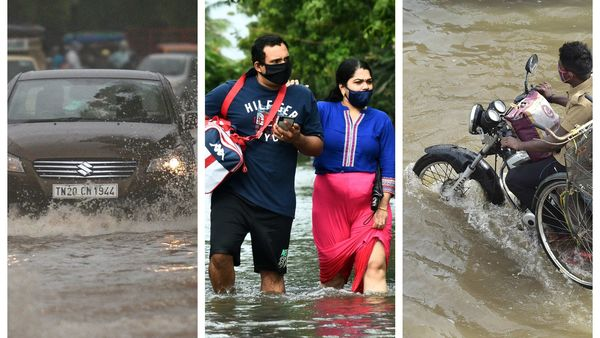 Cars, bikes and even people had to wade through knee-deep water in many parts of Chennai after Cyclone Nivar made landfall.