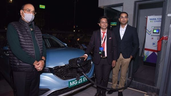 The first electric vehicle charging station in Agra set up by MG Motors. (Photo courtesy: Twitter/@MGMotorIn)