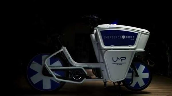 Urban Arrow front loader e-bike. (Photo courtesy: Screen grab from video posted on Youtube by Wunderman Thompson Paris)