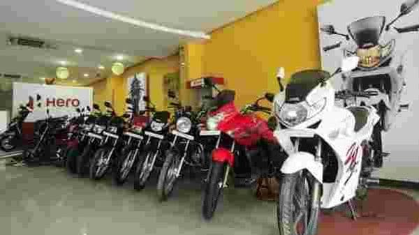 File photo of Hero MotoCorp products in a showroom