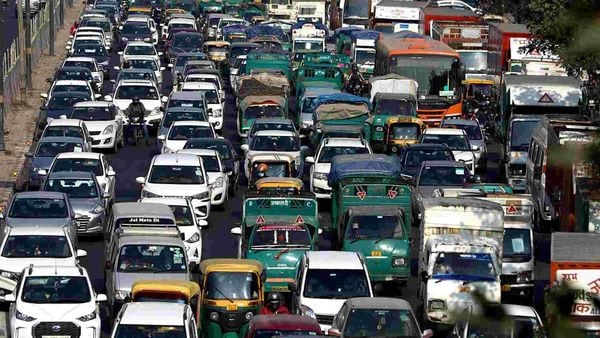 Traffic movement inside the city slowed down on the Delhi carriageways, as the police intensified checking of commuters ahead of the farmers' protest in New Delhi.
