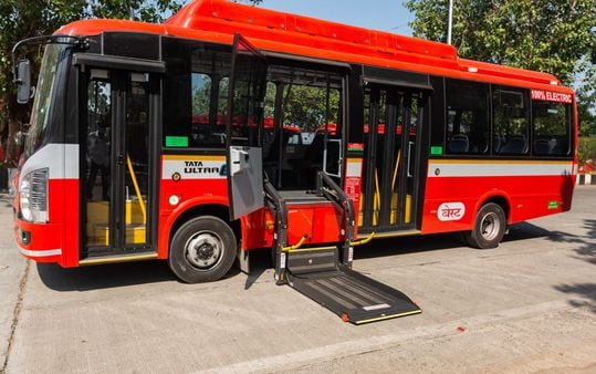 The state-of-the-art electric BEST bus delivered by Tata Motors.