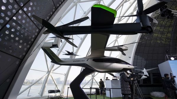 File photo for representational use: A model of an Uber S-A1 Air Taxi, developed by Hyundai Motor Co. S-A1 and Uber, during an Urban Air Mobility Seoul Demo event in Seou. (Bloomberg)