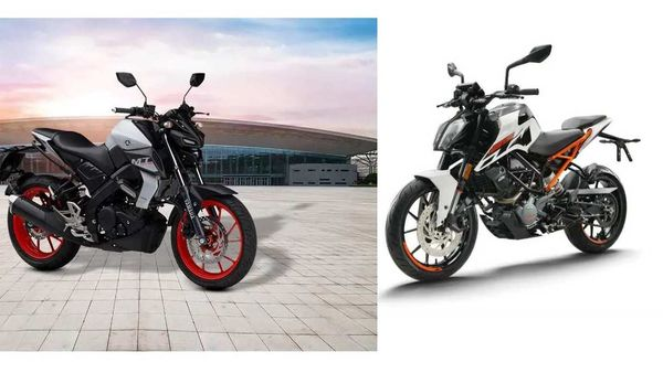 Entry-level naked streetfighter segment is growing in India with more and more bike makers rolling out premium offerings in this space. Image: Yamaha MT 15 (left) - KTM 125 Duke (right).