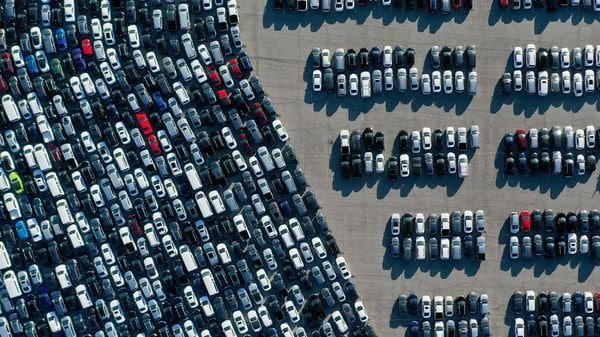 Aerial view of stationed rental cars parked amid the coronavirus pandemic. (Representational photo) (AFP)