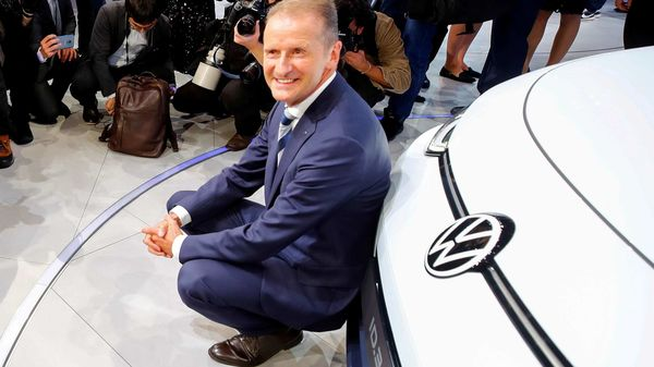 FILE PHOTO: Herbert Diess, CEO of German carmaker Volkswagen AG, poses in front of an ID.3 pre-production prototype during the presentation of Volkswagen's new electric car. (REUTERS)