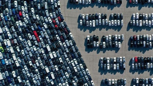 Representational File Photo: Aerial view of stationed rental cars parked amid the coronavirus pandemic. (AFP)