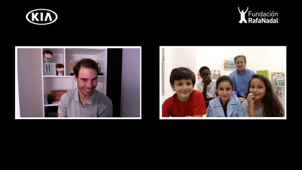 Rafael Nadal during the virtual meet with five children from the Rafa Nadal Foundation.