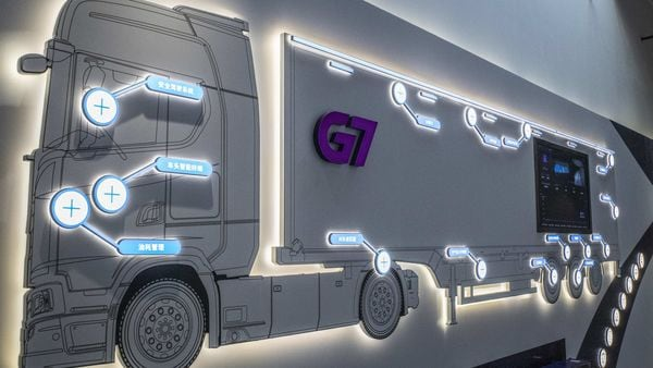 A display of the company's various artificial intelligence technology on a truck at the G7 headquarters in Beijing, China, on Friday, Dec. 12, 2020. Using Internet of Things technology, G7 can employ�anti-fatigue cameras�to call out bad driving, built-in advanced driver-assistance systems to send warnings about insufficient space between vehicles on highways, and real-time cargo weighing to�prevent stealing. Photographer: Gilles Sabrie/Bloomberg (Bloomberg)