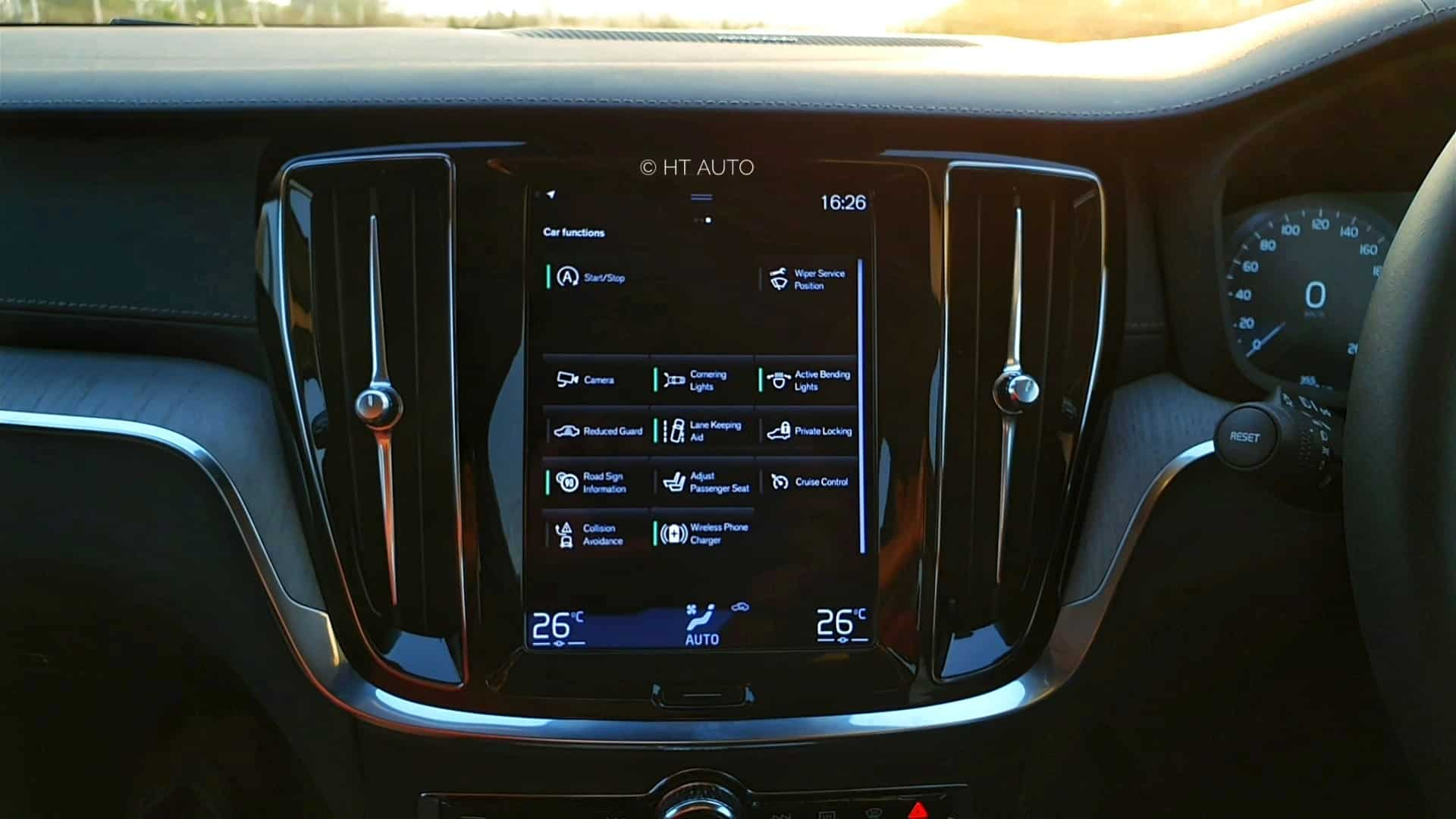 There is a nine-inch vertical infotainment system inside the Volvo sedan. It is large, vivid, easy to reach and responsive. The display also has an entire page for the safety features on offer, and all of these can be activated or deactivated from here.