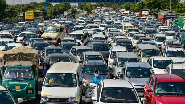 In Delhi, over 32 lakh vehicles registered before 2019 have to get the HSRP and third colour-coded sticker plates installed. (File photo) (PTI)