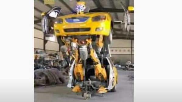 An old car transforming into a robot toy. (Photo courtesy: Screengrab of a video posted by CGTN)