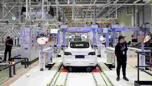File photo of a Tesla car inside one of its plants. (REUTERS)