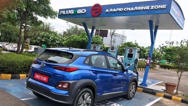 Hyundai Kona EV being charged at PlugNgo in Gurugram. (Photo courtesy: EV Motors India)