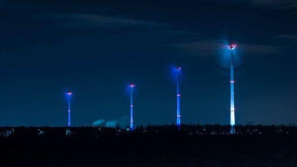 Lit up wind turbines at BMW's Leipzig plant