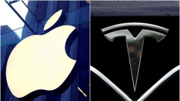 Logos of Apple (L) vs Tesla