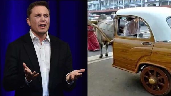 Tesla CEO Elon Musk (left), screengrab from video tweeted by Anand Mahindra (right).