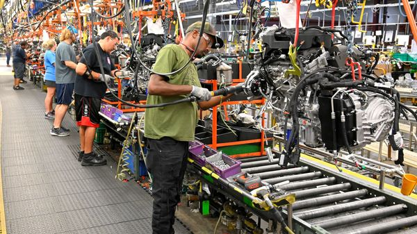 Representational file image: Engines assembled as they make their way through the assembly line at the General Motors (GM) manufacturing plant in Spring Hill, Tennessee, U.S (REUTERS)