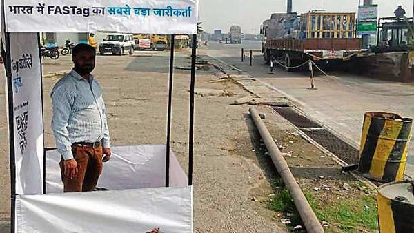 A FASTag counter set up on a highway in UP. (HT_PRINT)