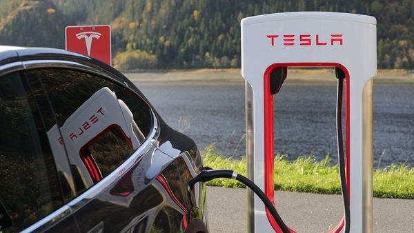 File photo of a Tesla electric vehicle being charged.