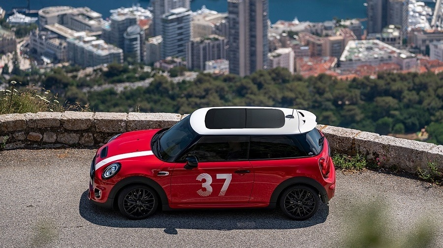 MINI Paddy Hopkirk Edition features the iconic No. 37 Sticker in white on both sides. It also includes the Panorama Glass Roof, Comfort Access System, Rear View Camera, and John Cooper Works Sport Leather Steering Wheel.