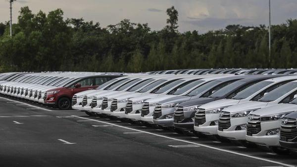 Toyota Motor Corp. Innova Crysta multi-purpose vehicles (MPV). (Bloomberg)