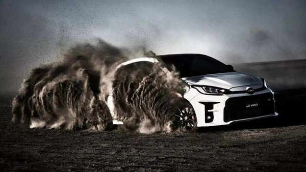 Screengrab from the Toyota GR Yaris commercial that was banned in Australia.