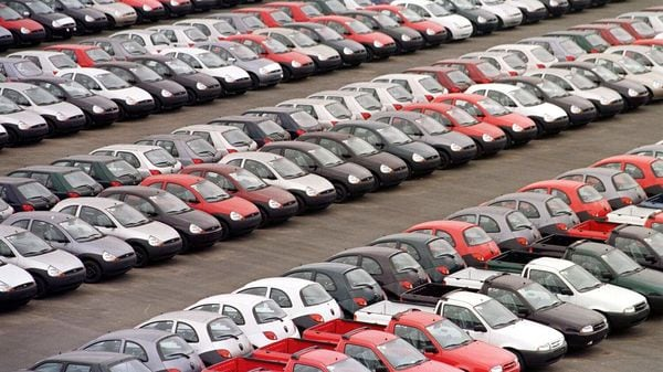 General view of thousands of Ford cars sitting on a lot in the industrial park of Sao Bernardo do Campo in Sao Paulo, Brazil. (File photo) (AFP)