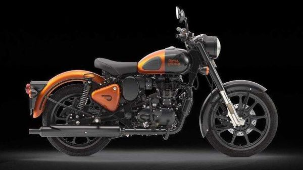 Royal Enfiled Classic 350 in Orange Ember colour option.