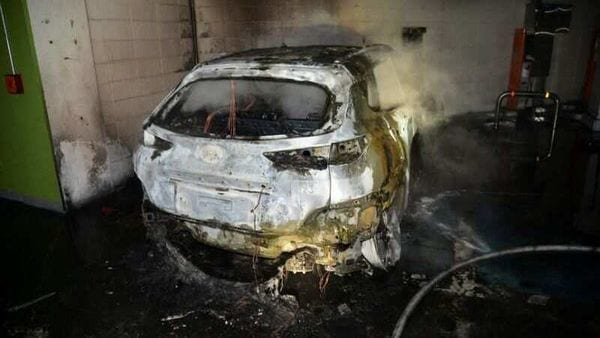 The burnt wreckage of a Hyundai Kona Electric vehicle is seen after it caught fire. (File photo) (via REUTERS)