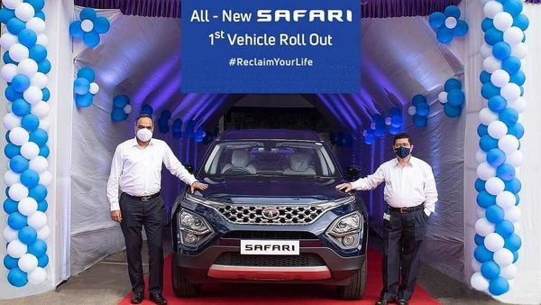 The first 2021 Tata Safari SUV model being rolled out of production facility.
