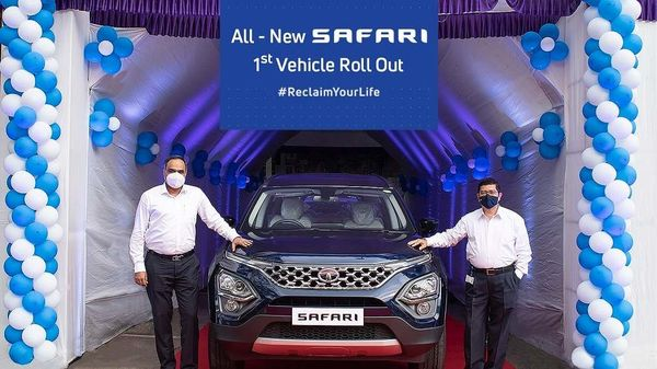 Tata Motors has revealed the first look at its 2021 Safari SUV. In the flag-off ceremony, the first unit of 2021 Safari rolled out of the production line from the company's plant in Pune.
