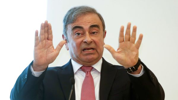 Former Nissan chairman Carlos Ghosn gestures as he speaks during a news conference at the Lebanese Press Syndicate in Beirut, Lebanon January 8, 2020. REUTERS/Mohamed Azakir