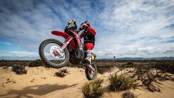 Kevin Benavides on his Honda rally machine for Dakar 2021.