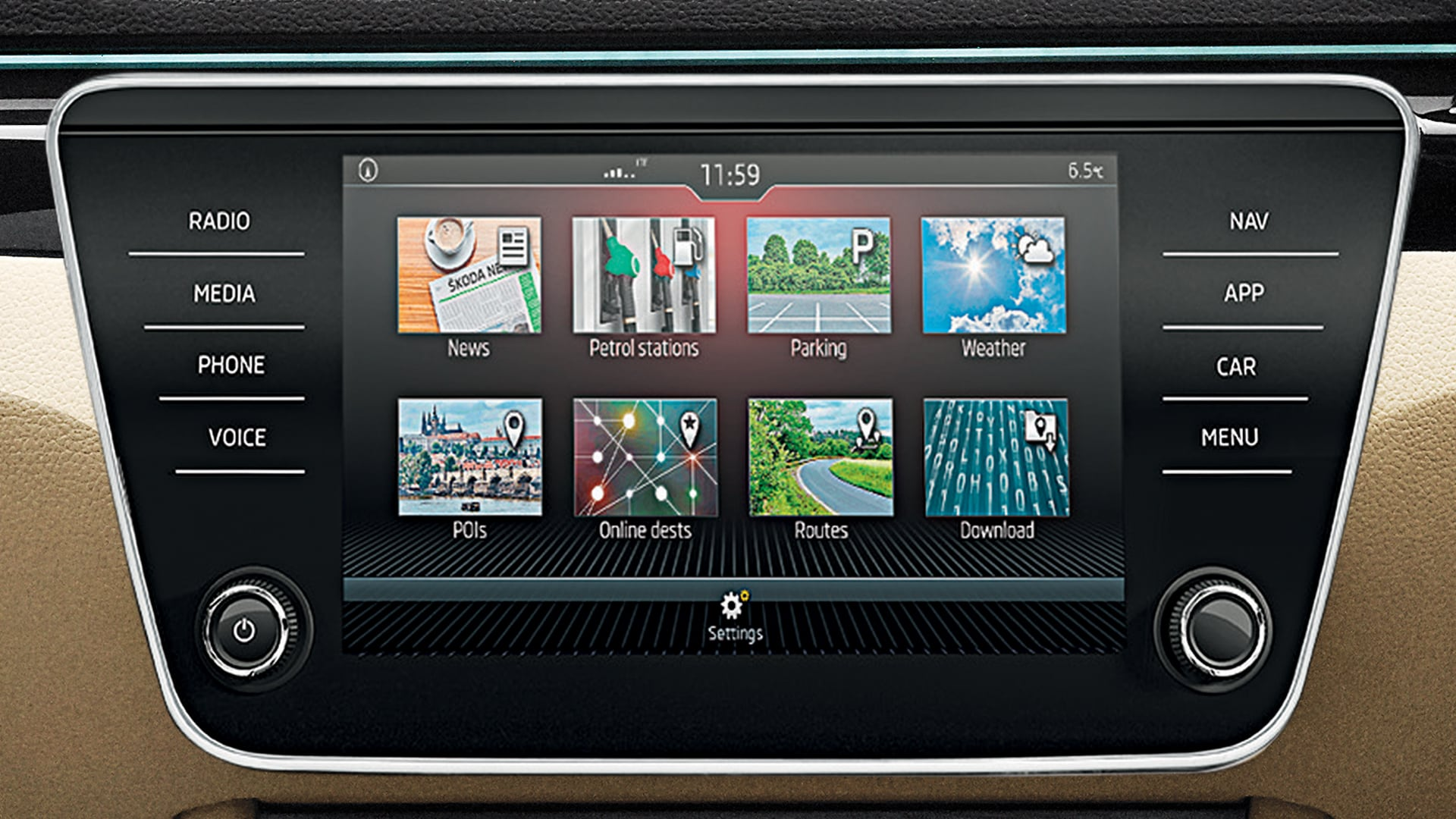 The eight-inch infotainment system tries to be the jewel in the Superb's crown. This floating display with a glass design gets proximity sensors and is part of the new generation Amundsen Infotainment System, with inbuilt navigation.