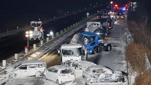 General view shows the site where cars were involved in a series of crashes when a snow storm struck a stretch of highway on the Tohoku Expressway in Osaki, Japan (REUTERS)